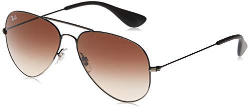 Ray-Ban Unisex-Adult RB3558 Sunglasses, Matte Black Antique/Brown Gradient, 58 mm
