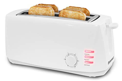 Elite Gourmet ECT-4829 Maxi-Matic 4 Slice Long Toaster 6 Toast Settings, Defrost, Reheat, Cancel Functions, Extra Wide 1.5' Slots for Bagels Waffles, Slide Out Crumb Tray, White