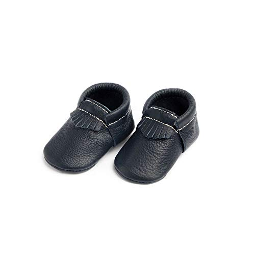 Freshly Picked - Rubber Mini Sole Leather City Moccasins - Toddler Girl Boy Shoes - Size 6 Navy Blue