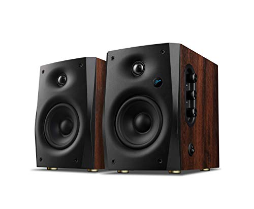 Swans Speakers -D1100 -Active Bluetooth 5.0 Bookshelf Speakers - Wooden Cabinet-DSP Crossover - 4' mid-bass- Excellent Heat Dissipation - Compact Computer Speakers-Brown Red