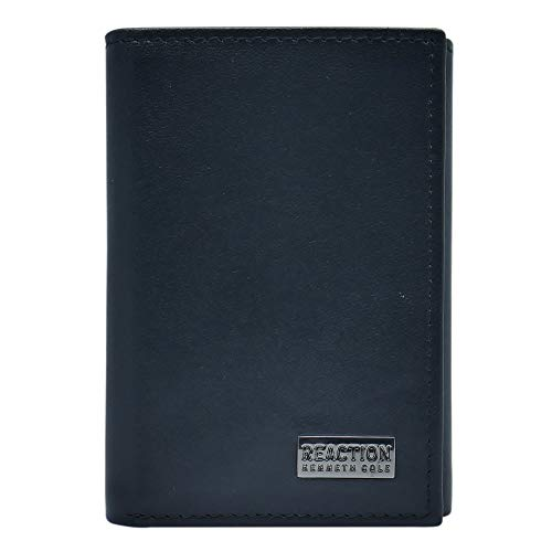 Kenneth Cole REACTION Men's Wallet-RFID Leather Slim Trifold with ID Window and Card Slots, Black Plaque, One Size