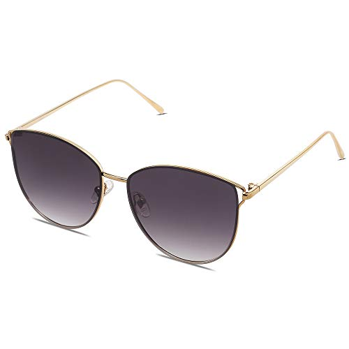 SOJOS Mirrored Flat Lens Fashion Sunglasses for Women SJ1085 with Gold Frame/Gradient Grey Lens