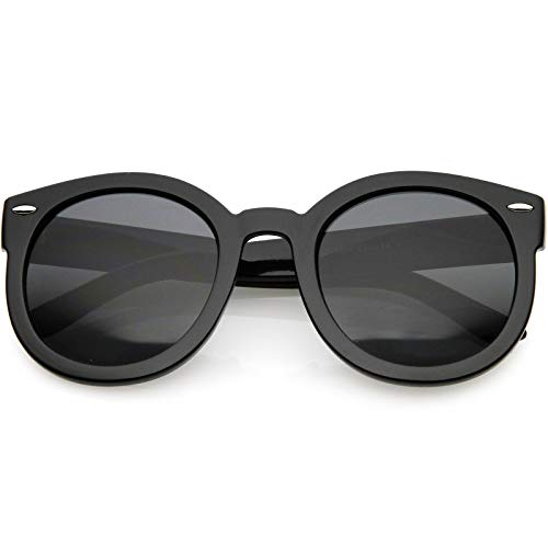 zeroUV - Round Retro Oversized Sunglasses for Women with Colored Mirror and Neutral Lens 53mm (Black/Smoke)