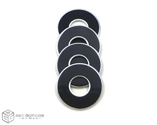 Get Outside Games 4 VVashers - Washer Toss/Washer Game Washers (Black, 4 VVashers with Container)