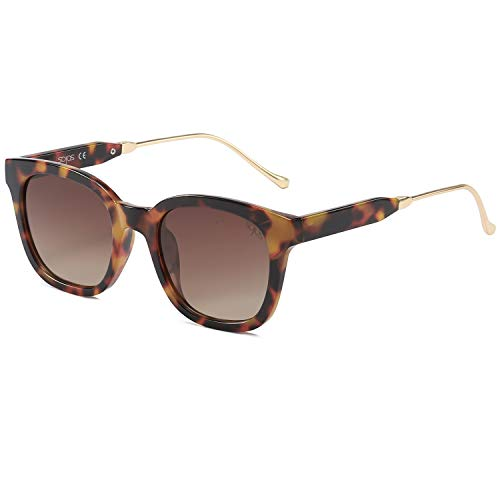 SOJOS Classic Square Polarized Sunglasses Unisex UV400 Mirrored Glasses SJ2050 with Tortoise Frame/Gradient Brown Lens
