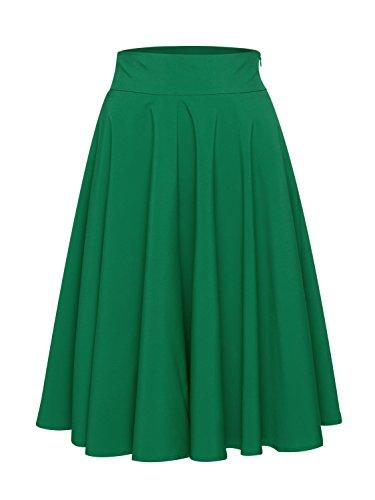 PERSUN Women's Green Christmas Skirt A-Line High Waisted Vintage Chiffon Knee Length Flared Midi Skirt (X-Large, Green)