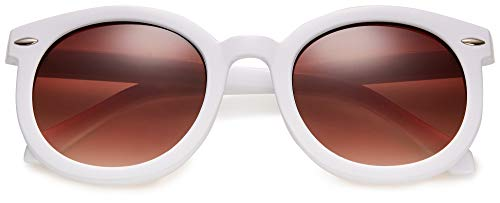 Round Retro Womens Oversized Sunglasses Fashion Circle Glasses for Women with Neutral and Clear Lens