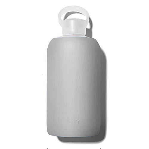 bkr Big Smooth London - 32oz - Glass Water Bottle - Light Grey - Dishwasher Safe - Removable Silicone Sleeve - BPA Free