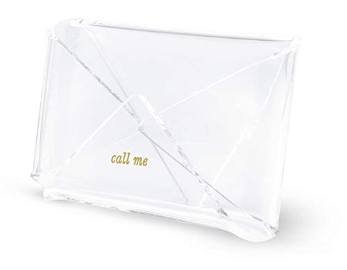 Kate Spade New York Business Card Holder for Women, Stylish Clear Acrylic Business Card Organizer for Desktop, Call Me