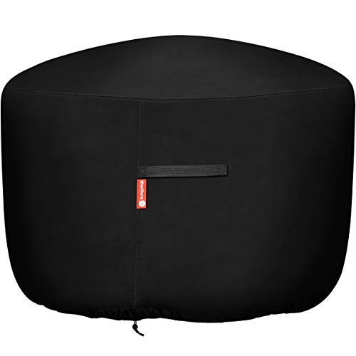 "Round Gas Fire Pit / Table Cover - Heavy Duty 300D Polyester with PVC Coating Material, 100% Weather Resistant and Waterproof, Fits 36 inch,35 inch, 34 inch Fire Pit/Bowl Cover,Black, 36"" DIA X 24""H"