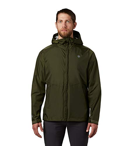 Mountain Hardwear Acadia Jacket Men's Lightweight Rain Jacket for Hiking, Camping, Climbing, and Everyday - Dark Army - Small