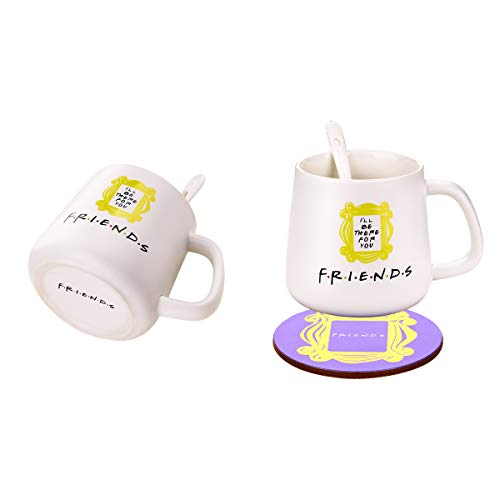 Peephole Yellow Frame Coffee Cup &Mugs Milk Cup Monica's Door Frame 1Cup + 1 Spoon + 1 Coaster Great Present for Fan!Ready to Hang.