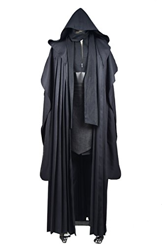 CosDaddy Mens Cosplay Costume Tunic Robe Uniform Cosplay Costume Linen Version (L-Men) Black