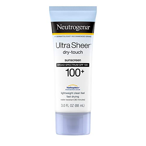 Neutrogena Ultra Sheer Dry-Touch Water Resistant and Non-Greasy Sunscreen Lotion with Broad Spectrum SPF 100+, 3 Fl Oz (Pack of 1)