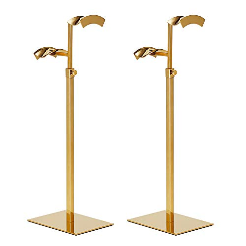 KAIDIYINZ Two-Piece Height-Adjustable Golden Double Hook Handbag Holder, Metal Wallet Display Stand