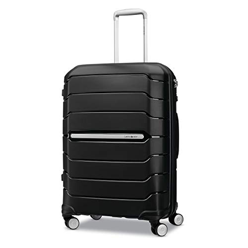 Samsonite Freeform Hardside Expandable with Double Spinner Wheels, Black, Checked-Medium 24-Inch