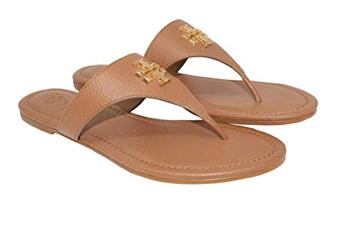 Tory Burch Women's Everly Flat Thong/Tumbled Leather Shoes (Royal Tan, Size 6)