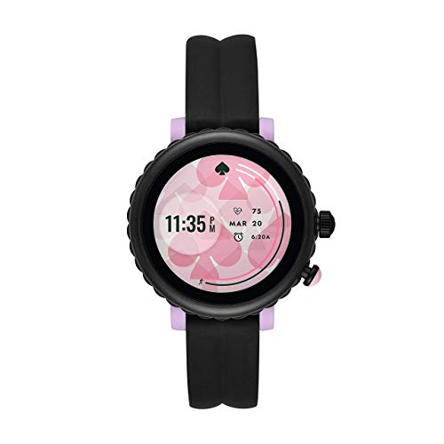 Kate Spade New York Women's Gen 4 Scallop Sport HR Heart Rate Silicone Touchscreen Smart Watch, Color: Black (Model: KST2017)