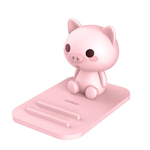 Pink Pig Phone Holder - Adjustable Stand - Lovely Animal Desktop Cell Phone Stand, Creative Cartoon Multi-Function Desk Phone Stand, Smartphone Dock,Frog Gift for Girl (Pink Pig, 17 X 8 X 5 cm)