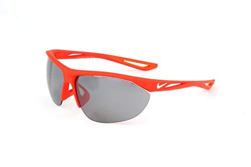 Nike EV0916-600 Tailwind Swift Frame Grey with Silver Flash Lens Sunglasses, Matte Bright Crimson/White
