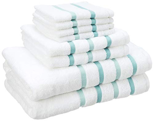 Comfort Spaces Cotton 8 Piece Bath Towel Set Striped Ultra Soft Hotel Quality Quick Dry Absorbent Bathroom Shower Hand Face Washcloths, 28x54, Aqua