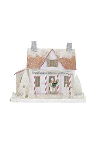 Cody Foster White Festive Frosted Farmhouse Christmas Mantel Village Candy Cane