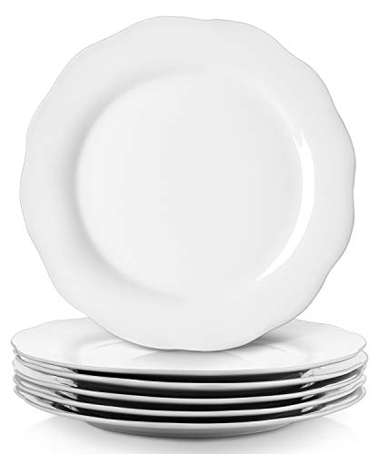 Y YHY Christmas Dinner Plates Set, 10.6' Porcelain Dinner Plate Set of 6, White Serving Plates for Restaurant, Kitchen and Family Party Use, Reusable, Dishwasher & Microwave Safe