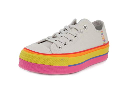 Converse Womens Chuck Taylor All Star Starlift Rainbow Platform Low Top Vintage White/Pale Putty Sneaker - 7