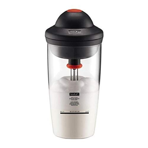 Bodum 10864-01G Latte Milk Frother Battery Operated Glass, 6 oz, Black