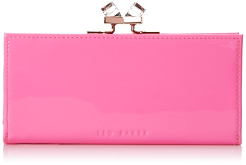 Ted Baker Patent Crystal Frame Matinee Wallet,Mid Pink,One Size