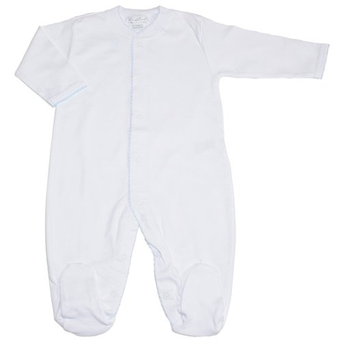 Kissy Kissy Baby-Boys Infant Basics White with Blue Footie-White with Blue-Newborn