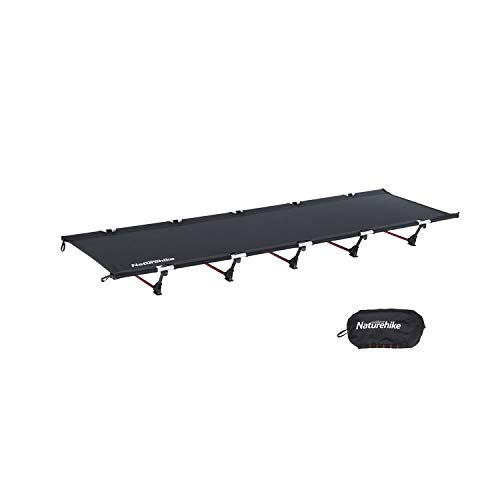 Naturehike Ultralight Folding Camping Cot Bed,Portable Compact Cot for Adults Camping,Hiking,Lightweight Backpackings,Heavy Duty Support 330 Lbs-Black