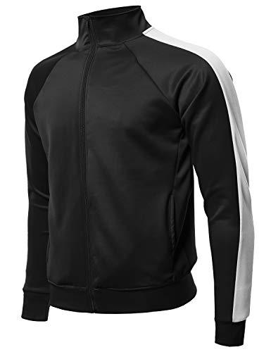 Premium Quality Shoulder Panel Zip-Up Track Jacket Black White L