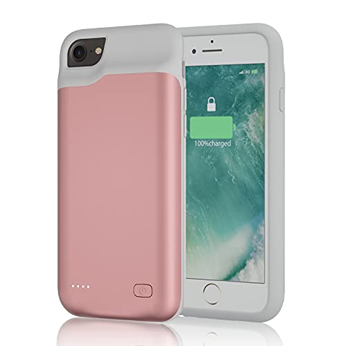 Battery Case for iPhone 6/6S/7/8/SE 2020 (4.7 inch), 6000mAh Portable Charging Case, Rechargeable Charger Case for iPhone 6/6S/7/8/SE 2020(2nd Gereration), Rose Gold