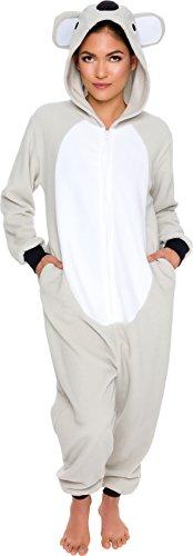 Silver Lilly Slim Fit Animal Pajamas - Adult One Piece Cosplay Koala Costume (Grey/White, X-Small)
