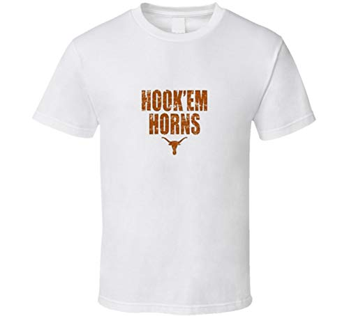 Flying Monkey Tees Hook 'em Horns Longhorns Gift T Shirt XL White