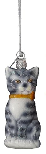 Kurt Adler 3.25' Noble Gems Striped Gray Glittered Glass Cat with Gold Ribbon Collar Christmas Ornament