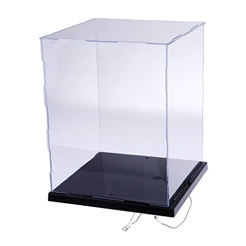 LANSCOERY Clear Acrylic Display Case Assemble Countertop Box Cube Organizer Stand Dustproof Protection Showcase for Action Figures Toys Collectibles (8.5x8.3x10.2 inch; 21.5x21x26 cm)