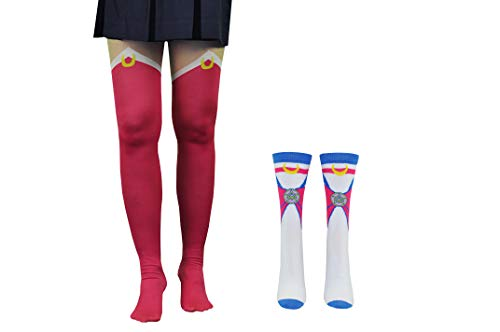 Sailor Moon Tights Socks (2 Pair) - Cosplay Boot Socks Women & Girls - Fits Shoe Size: 4-10 (Ladies)