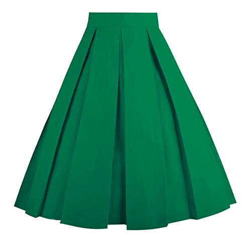 OBBUE Dresstore Vintage Pleated Skirt Floral A-line Printed Midi Skirts with Pockets Green-S