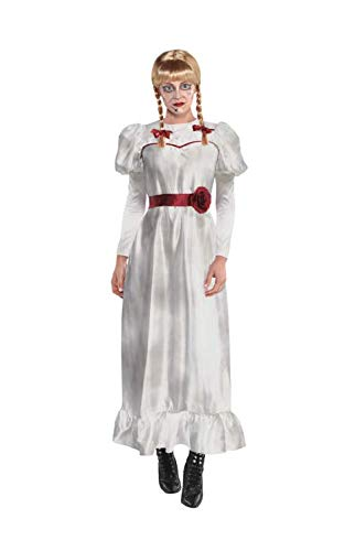Party City Annabelle Halloween Costume for Adults, Annabelle Comes Home, Small (2-4), with White Dress and Braided Wig
