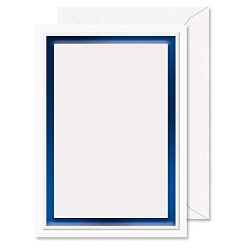 Printable Blue Foil Border Embossed Premier Invitations - Set of 28 5 by 7 Inch Invitations on 65# Cover Stock, Includes Envelopes, Compatible on Laser and Inkjet Printers