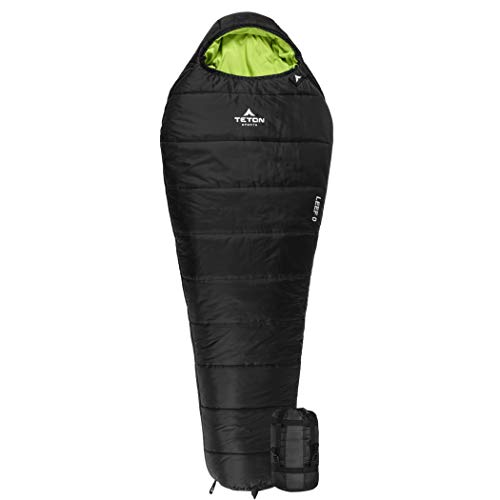 TETON Sports LEEF Lightweight Adult Mummy Sleeping Bag; Great for Hiking, Backpacking and Camping; Free Compression Sack; Black , Adult - 87' x 34' x 22'