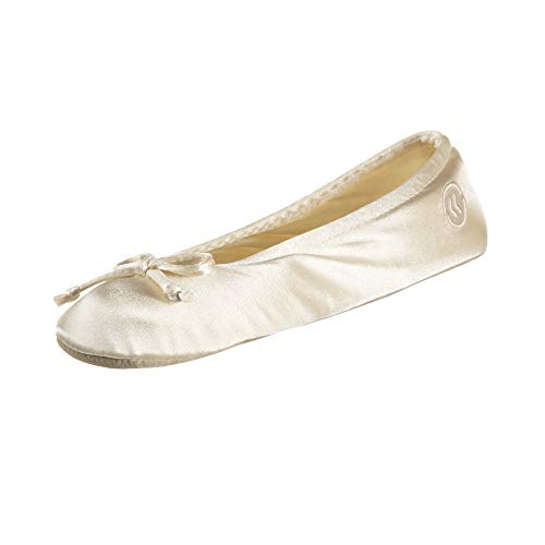 isotoner womens Satin Ballerina With Bow, Suede Sole Slipper, Cream Soft Tie Bow, 9.5-10.5 US