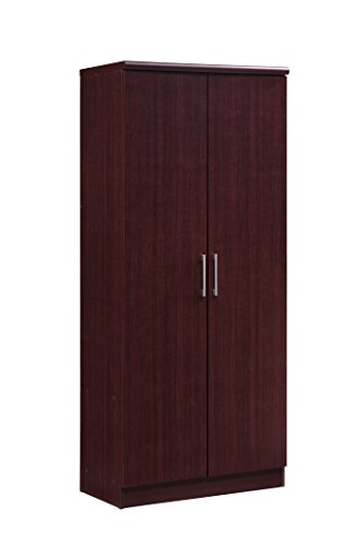 Hodedah 2 Door Wardrobe with Adjustable/Removable Shelves & Hanging Rod, Mahogany
