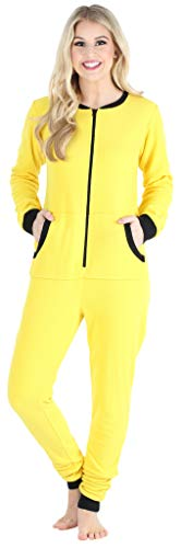 Sleepyheads Women's Fleece Non-Footed Solid Color Onesie Pajamas Jumpsuit, Yellow w/Black Zipper, MED