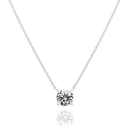 PAVOI 14K Gold Plated Swarovski Crystal Solitaire 1.5 Carat (7.3mm) CZ Dainty Choker Necklace | White Gold Necklaces for Women