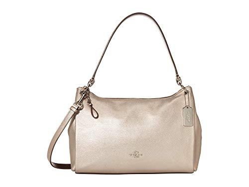 COACH Metallic Pebbled Leather Mia Shoulder Bag Silver/Platinum One Size