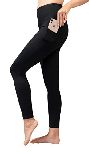90 Degree By Reflex High Waist Fleece Lined Leggings with Side Pocket - Yoga Pants - Black with Pocket - Small