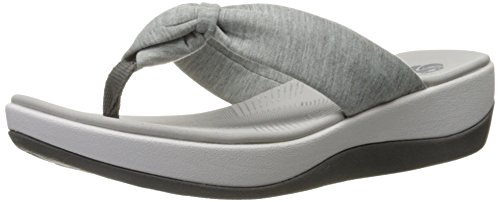 Clarks Women's Arla Glison Flip Flop, Grey Heather Fabric, 9 M US